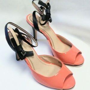 Pour La Victoire Coral Patent Leather Heels Sz 7.5